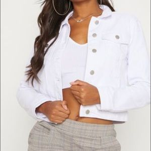 Loft Crop White Jean Jacket